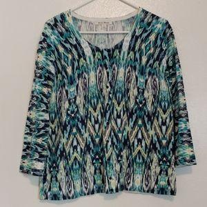 Blue green white soft cardigan sweater